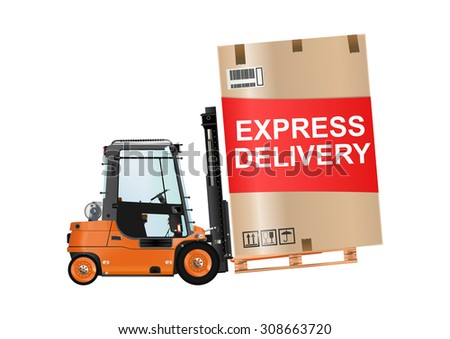 Express delivery. Forklift truck with a huge box on the white background. Raster illustration. - stock photo