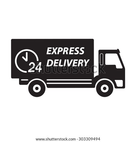 Express delivery or logistic icon or sign. 24 hours shipping truck.