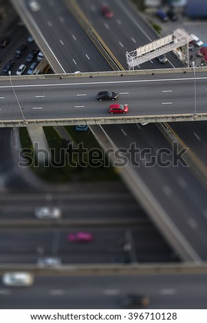 Express way with tilt-shift effect in Bangkok - stock photo