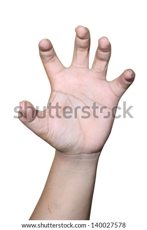 expression as if holding hands and showing anger, isolated on white background - stock photo