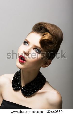 Expression. Daze. Amazed Woman's Face. Surprised Young Person with Black Beads - stock photo