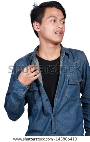 expression of a young man with his shirt isolated on white background - stock photo