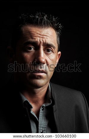 Expression of an anguished man. - stock photo