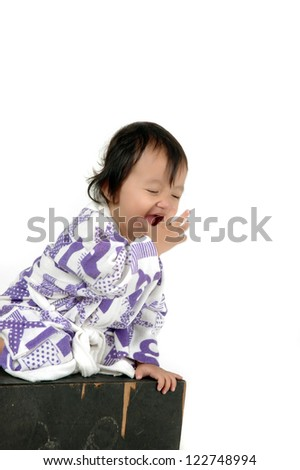 ... of asian little girl isolated on white background - stock photo