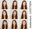 expression of   brunette girl  ,collection set - stock photo