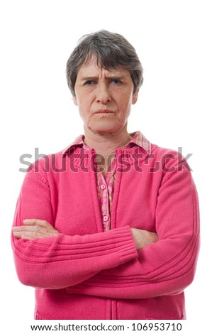expression of nasty lady on white background - stock photo