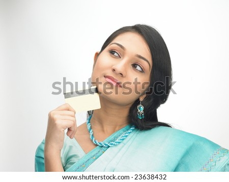 Expression of Teenage girl with the credit-card - stock photo