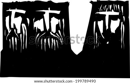 Expressionist woodcut image of Three heads two men and a woman - stock photo