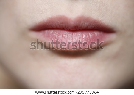 Expressionless mouth - stock photo