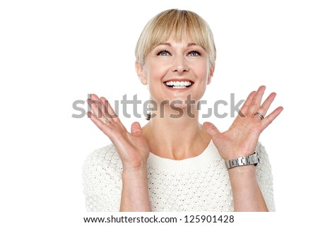 Expressions of a happy and content woman, casual shot. - stock photo