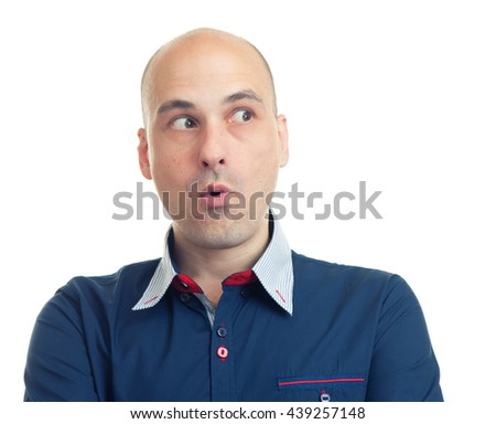 expressions of bald man looking sideways. Isolated on white background