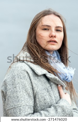 Expressive emotional portrait of a young girl - stock photo