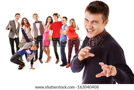 Expressive emotional young people group - stock photo