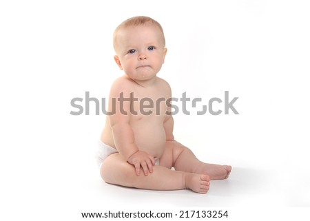 Expressive Happy Adorable Baby on a White Background - stock photo