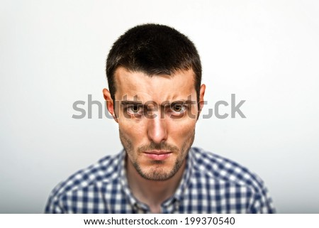 Expressive man portrait - stock photo