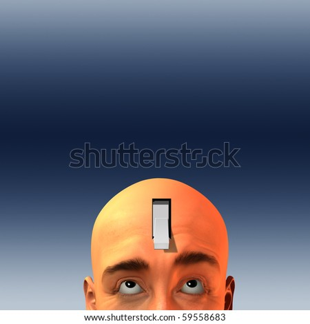 Expressive man with switch in head - stock photo