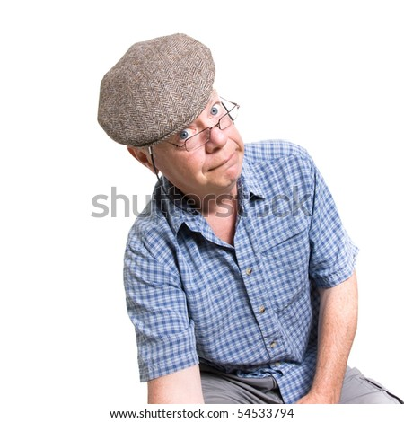Expressive old man looking daft isolated against white background. - stock photo