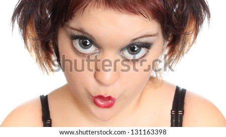 Expressive portrait of a young girl with big eyes. - stock photo