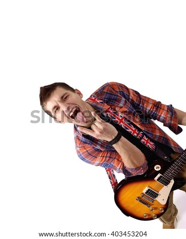 expressive rock musician is playing electrical guitar on white background