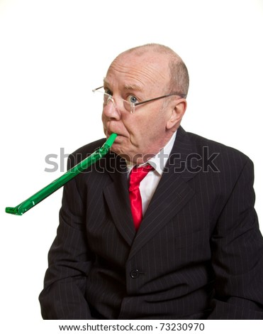 Expressive senior businessman isolated on white party pooper concept