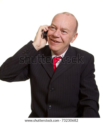 Expressive senior businessman isolated on white talking on phone concept
