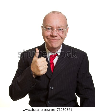 Expressive senior businessman isolated on white thumbs up concept