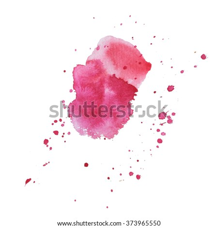 Expressive watercolor spot with splashes pink color.  - stock photo