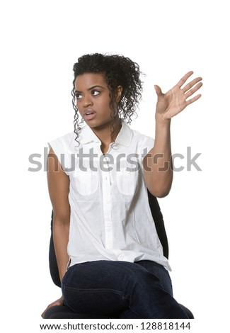 Expressive young woman - stock photo