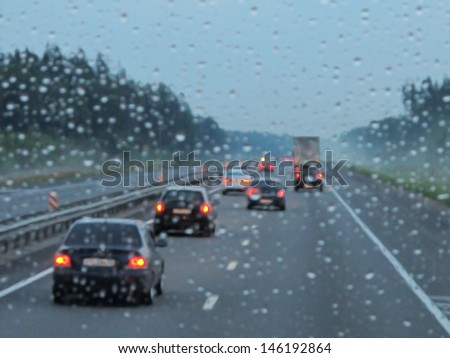 expressway in rainy twilight - stock photo