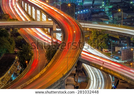 Expressway light blurred at night, Bangkok traffic. - stock photo