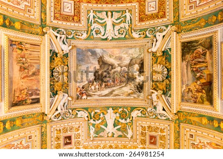 Exquisite ceiling of Gallery of Maps, Vatican museum, Rome - stock photo