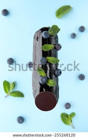exquisite cream dessert eclair with blueberry and fresh mint leaves - stock photo
