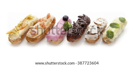 exquisite cream dessert eclairs on a white background