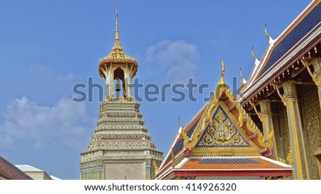 Exquisite mosaics and classical Thai roof lines in the Grand Palace, Bangkok, Thailand - stock photo