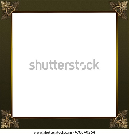 Exquisite picture frame or border with copper green patterned corners and grey border