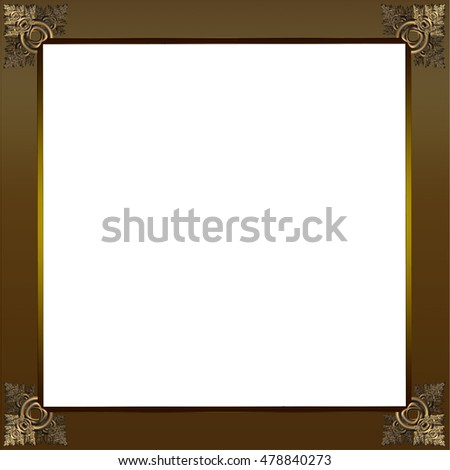 Exquisite picture frame or border with gold patterned corners and copper border