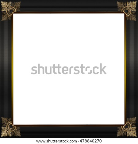 Exquisite picture frame or border with gold patterned corners and grey textured border