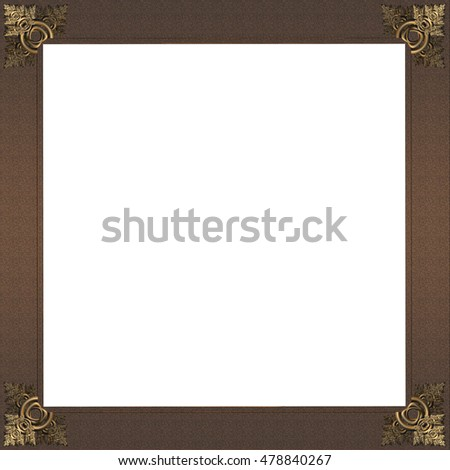 Exquisite picture frame or border with gold patterned corners and rough copper border