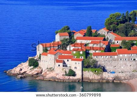 Exquisite resort located on historical village on the Adriatic sea, Montenegro - stock photo