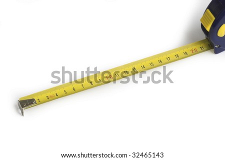 Extended Retractable Tape Measure on White Background
