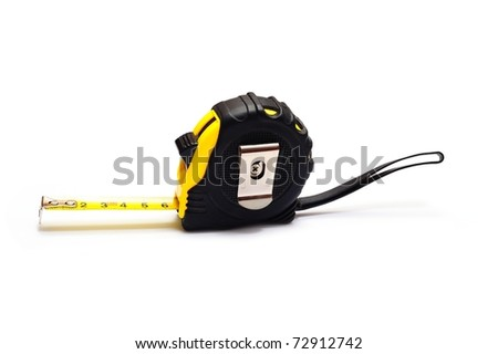 Extended retractable tape measured on a white background - stock photo