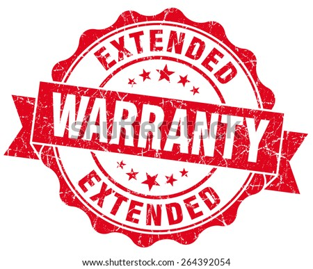 extended warranty red grunge seal isolated on white - stock photo