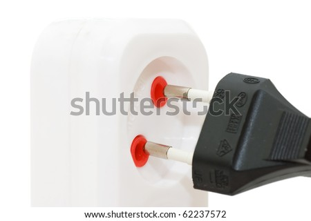 Extension cord with plugs isolated over white
