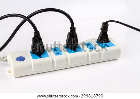 Extension electric cable reel on white background - stock photo