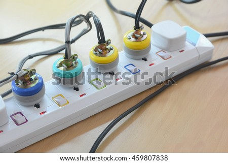 Extension lead, eatension cable, extension cord for extending plug with lots of plug, socket - stock photo