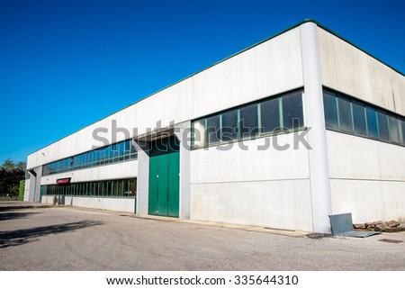 Exterior an industrial warehouse