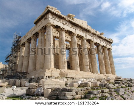 Exterior architectural details of Parthenon building, Athenian Acropolis, Athens, Greece. - stock photo