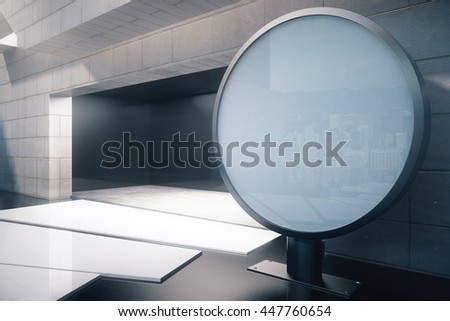 Exterior design with concrete tile wall, abstract path to open entrance and blank round ad stand next to it. Mock up, 3D Rendering