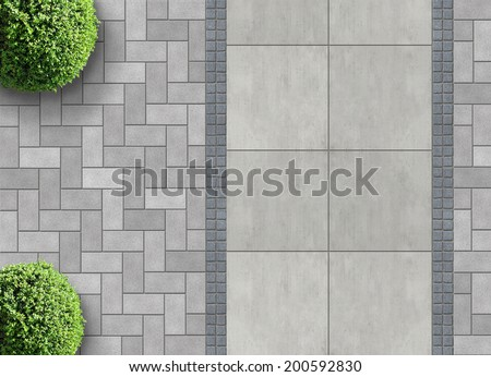 exterior detail in aerial view with permeable paving - stock photo