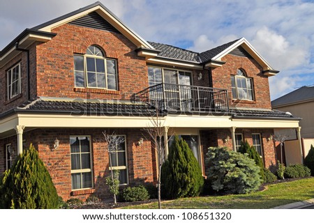Exterior facade of a Australian house - stock photo